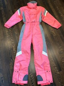 Vtg 80s Pink DESCENTE One Piece apres SKI SUIT Snow Bib Snowsuit WOMENS MEDIUM
