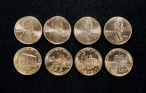 8 pc set 2009 P D Lincoln Cent Bicentennial Copper 1c BU MS SP Satin Finish