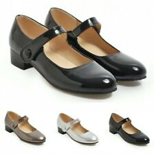 46/47/48 Women's Ankle Strap Low Heels Mary Janes Patent Leather Casual Shoes D