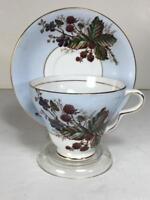 Taylor & Kent Longton England Bone China Blue Floral Berries Cup and Saucer Set