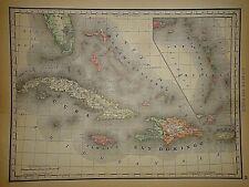 Vintage 1890 BAHAMAS - CUBA MAP Old Antique Original Atlas Map 041718