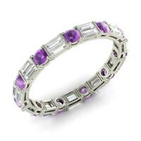 1.96 Ct Amethyst Eternity Wedding Band 14K White Gold Diamond Ring Size N O P