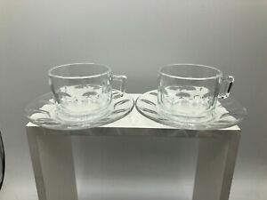 Arcoroc Demitasse Thumbprint Glass Espresso Coffee Clear Cups Saucer Lot of 2