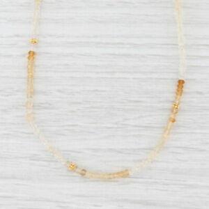 New Nina Nguyen Citrine Quartz Bead Necklace Sterling Gold Vermeil Adjustable