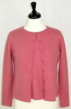 Dialogue S Merino Wool Twin Set Cardigan Short Sleeve Top Italian Marled Pink