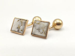 14k Gold Cufflinks with GOLD VEINED QUARTZ -- 5.8g **LOOKS FANTASTIC!**