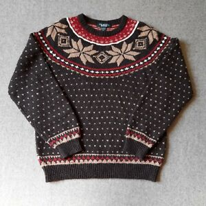 Brooks Brothers Country Club Wool Cashmere Brown Fairisle Christmas Jumper L