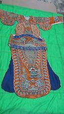 ANTIQUE19c CHINESE SILK EMBROIDERY GOLD TREADS ROBE IMPERIAL DRAGON,BIRDS,SYMBOL