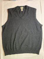 LL BEAN Vintage 100% Lambswool V Neck Sweater Vest Charcoal Dark Gray XL