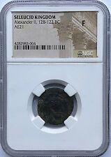 ALEXANDER II - SELEUCID KINGDOM 128-122 BC AE21  -  NGC F - FREE SHIPPING!
