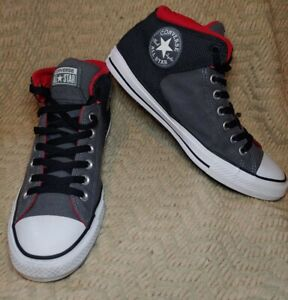 Men's Converse All Star High Street Gray And Red Canvas Sneakers Size 9