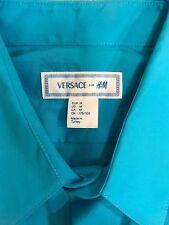 $120 VERSACE FOR H&M Men's Teal Blue L/S Dress Shirt size M