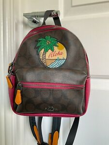 COACH Brown & Red Signature 'Aloha' Backpack