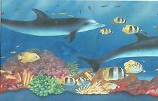 Aquatic Life Dolphins Clownfish Coral And Sponges Wallpaper bordeR Wall decor