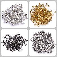 500/1000pcs Silver/Gold/Black/Bronze Tube Crimp End Beads Jewelry 1.5/2mm