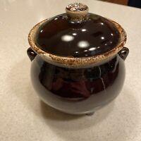 Vintage Hull Pottery Brown Drip Glaze Bean Pot Kettle Cauldron