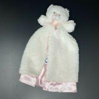Gerber White Sherpa Bear Plush Baby Lovey Pink Satin Security Blanket Shaggy