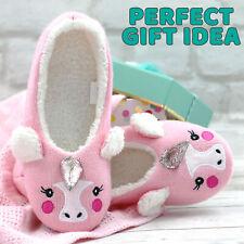 UK Ladies Womens Pink Unicorn Ballet Slippers Indoor Warm Cosy Size 3 4 5 6 7 8