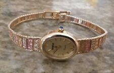 Geneve 14K Solid Two Color Gold Yellow Rose Quartz Ladies Watch ((493))
