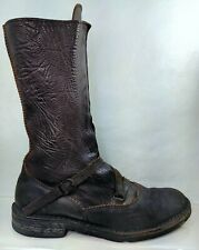 MOMA Factory Distressed Brown Leather Combat Boots Women US 9 Made In Italy