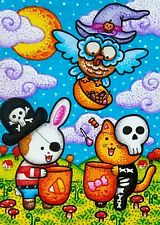 ACEO Original Fantasy Halloween Animals Cat Rabbit Owl Candy Trick or Treat