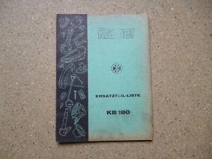 Kramer Schlepper KB 180  Original ERSATZTEIL-LISTE 1958