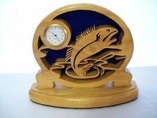Lazer Cut Red Oak Wood Fish Desk / Mantel Clock H & E Wood Crafts