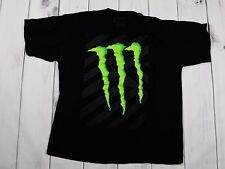 Men's Monster Energy Drink Green M Logo Black T Shirt Pre-shrunk Cotton Sz XL