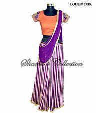 Bollywood Designer Indian Pakistani Stitched Saree-Purple-rust stripped Saree