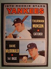 1970 TOPPS BASEBALL #189 YANKEES ROOKIE STARS THURMAN MUNSON RC  VG