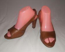 Gentle Souls Lindy Slingback Heels Kenneth Cole  8 M Brown Leather Peep Toe Shoe