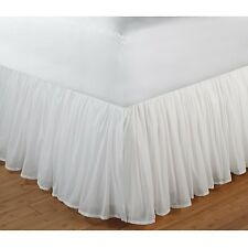 White Bed Skirt Twin Size Gathered Cotton Voile Polyester Liner 18 Inch Drop