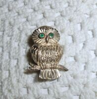 Vintage Pd Signed Sterling Silver OWL Brooch Pin Green Eyes