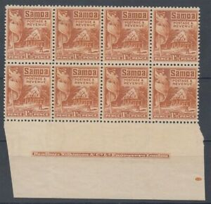 SAMOA 1921 1½d. HUT IMPRINT BLOCK (x8) MNG