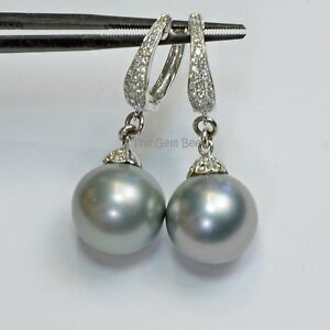 14k Solid White Gold 12.9mm Tahitian Pearl Earrings With Diamond Accent