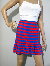 * FRENCH CONNECTION * sz 10 striped frill hem jersey SKIRT - excellent condition