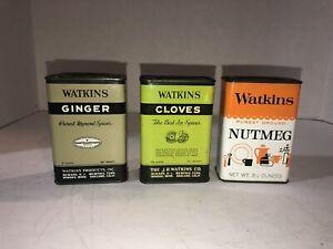 Vintage Watkins spice tin cans Ginger Nutmeg Cloves
