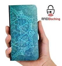 RFID Protected Mandala B PU Leather Wallet Custom Case Cover for Apple iPhone