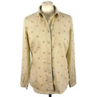 Joules Size 10 Cream Beige Horseshoe Equestrian Print Blouse Shirt Fitted Cotton
