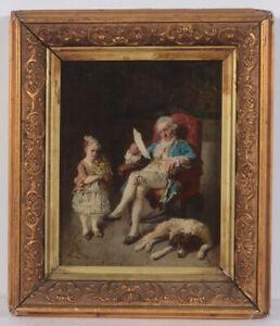 """Joseph Emanuel Weiser """"Little congratulator"""", small oil on panel, 1873"""