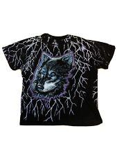 New listing Vintage Wolf Lightning All Over Print Tee Shirt - Xl