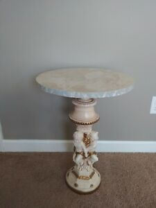 Vintage Marble STYLE Top and Base Plant Stand / Side Table Pedestal