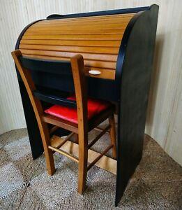 Fab Vintage Retro Marmet Child's Children's Roll Top Wooden Desk Bureau & Chair