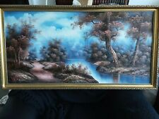 More details for original landscape painting by irene cafieri - frame measures 43 x 23 inches