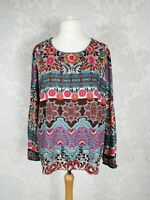 Laura Ashley Size UK 20 Teal Multi Arts & Crafts Print High Low Top Blouse #k