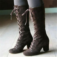 Women's Steampunk Gothic Vintage Block Heel Shoes Knee High Punk Lace Up