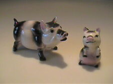 VINTAGE 1952 MINIATURE HAGEN RENAKER BLACK & WHITE MAMA AND BABY PIGS