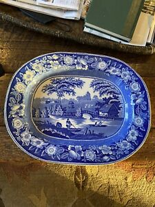 Anitque Blue And White Platter