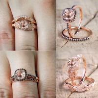 Women 18K Rose Gold Filled Morganite Wedding Engagement Ring Set Party Sz5-10