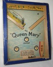 Unusual Antique Dexterity Puzzle QUEEN MARY Blue R Journet London 1940s
